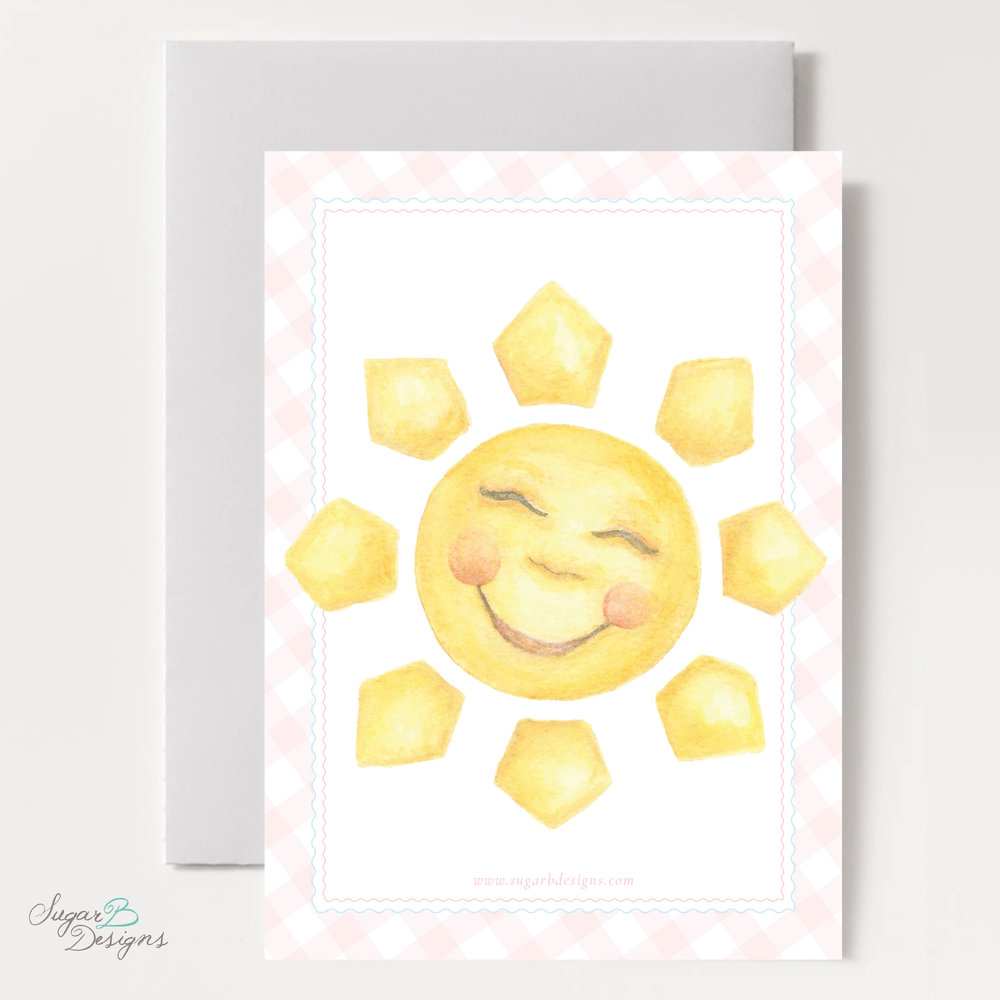 Happy Sunshine Invitation in Pink backer by Sugar B Designs.jpg