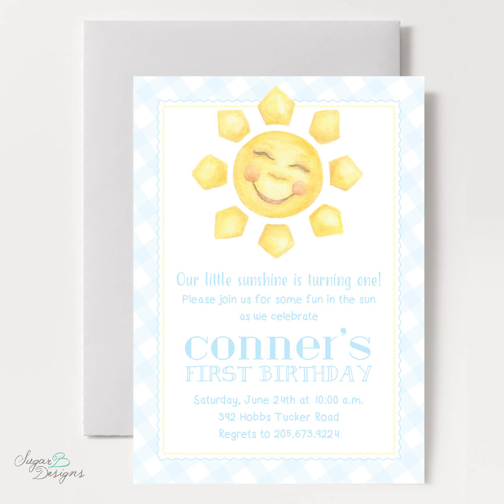 Happy Sunshine Invitation in Blue by Sugar B Designs.jpg