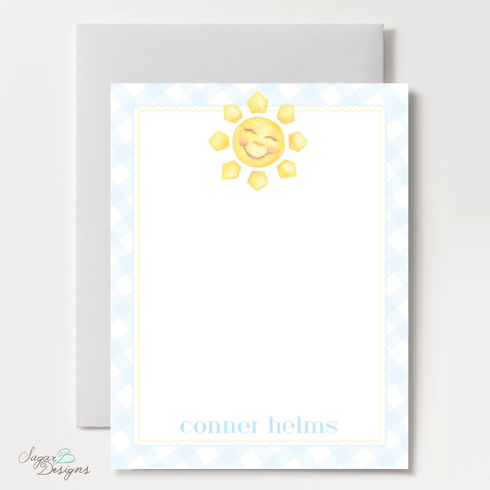 Happy Sunshine in Blue Flat Stationery by Sugar B Designs.jpg
