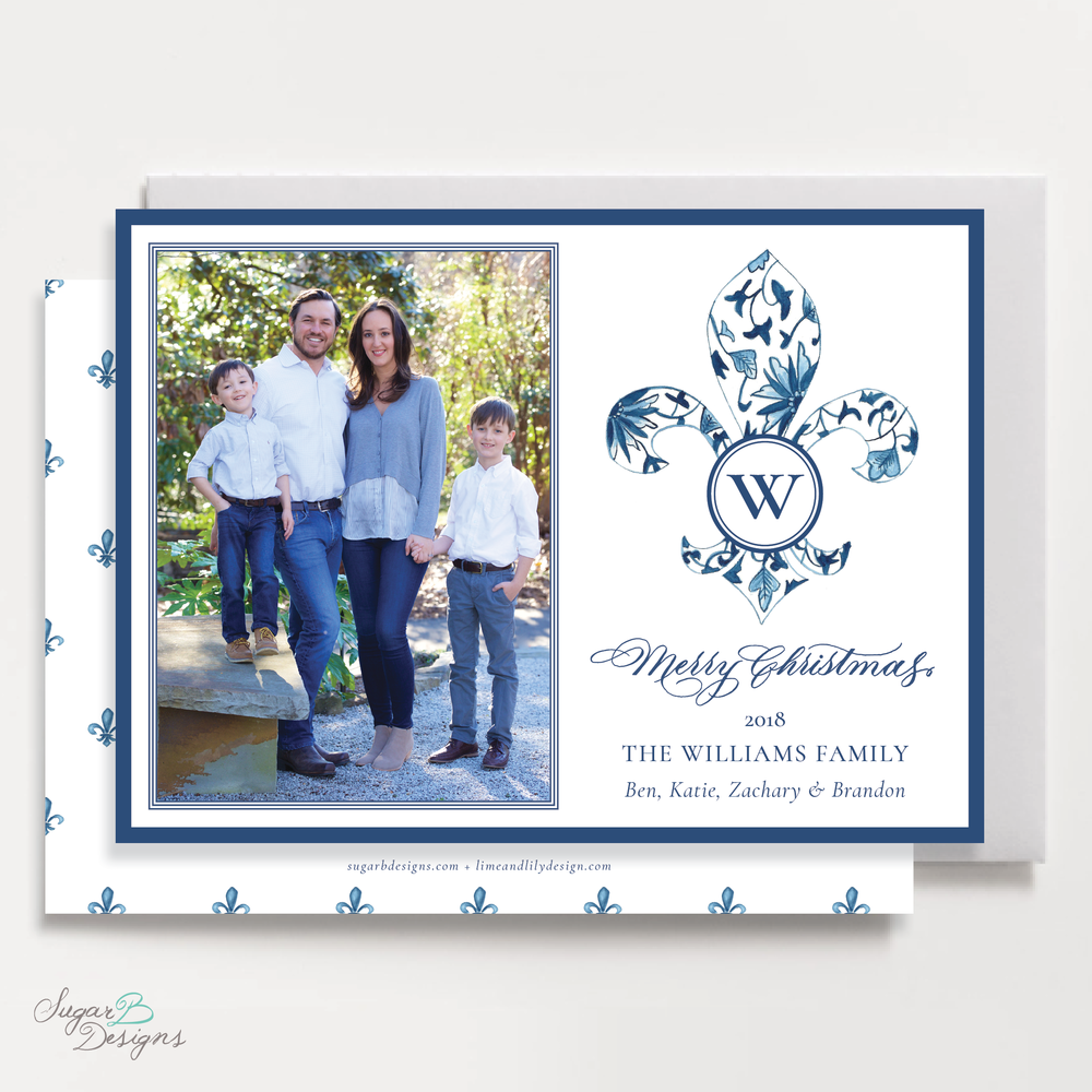 Fleur De Lis Christmas Card LANDSCAPE front + back by Sugar B Designs.png