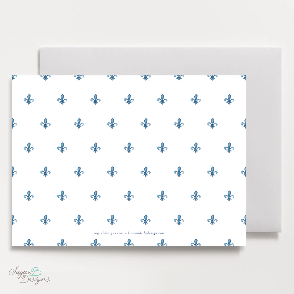Fleur De Lis Christmas Card LANDSCAPE back by Sugar B Designs.png