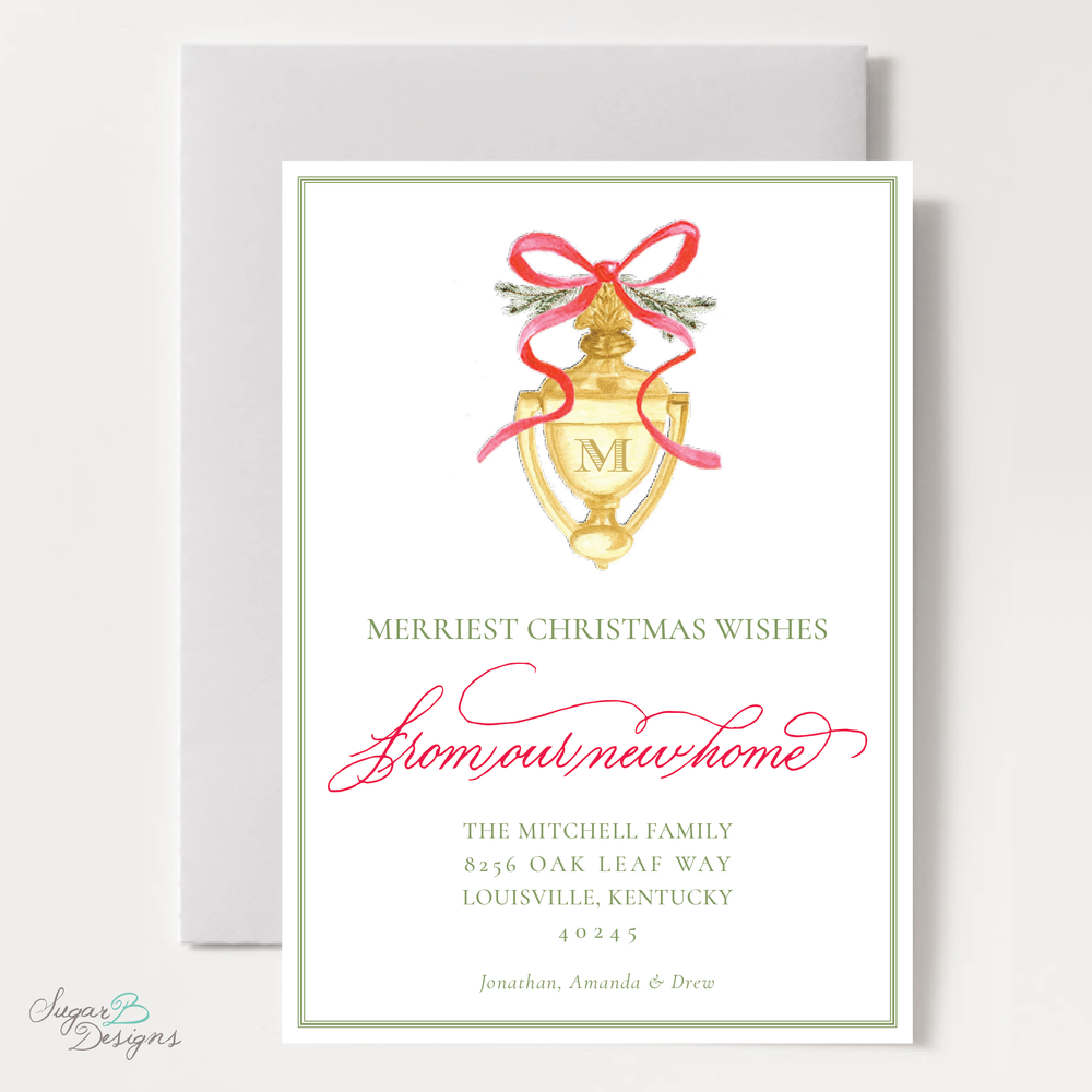 Door Knocker Green and Red Change of Address Christmas Card front by Sugar B Designs.png