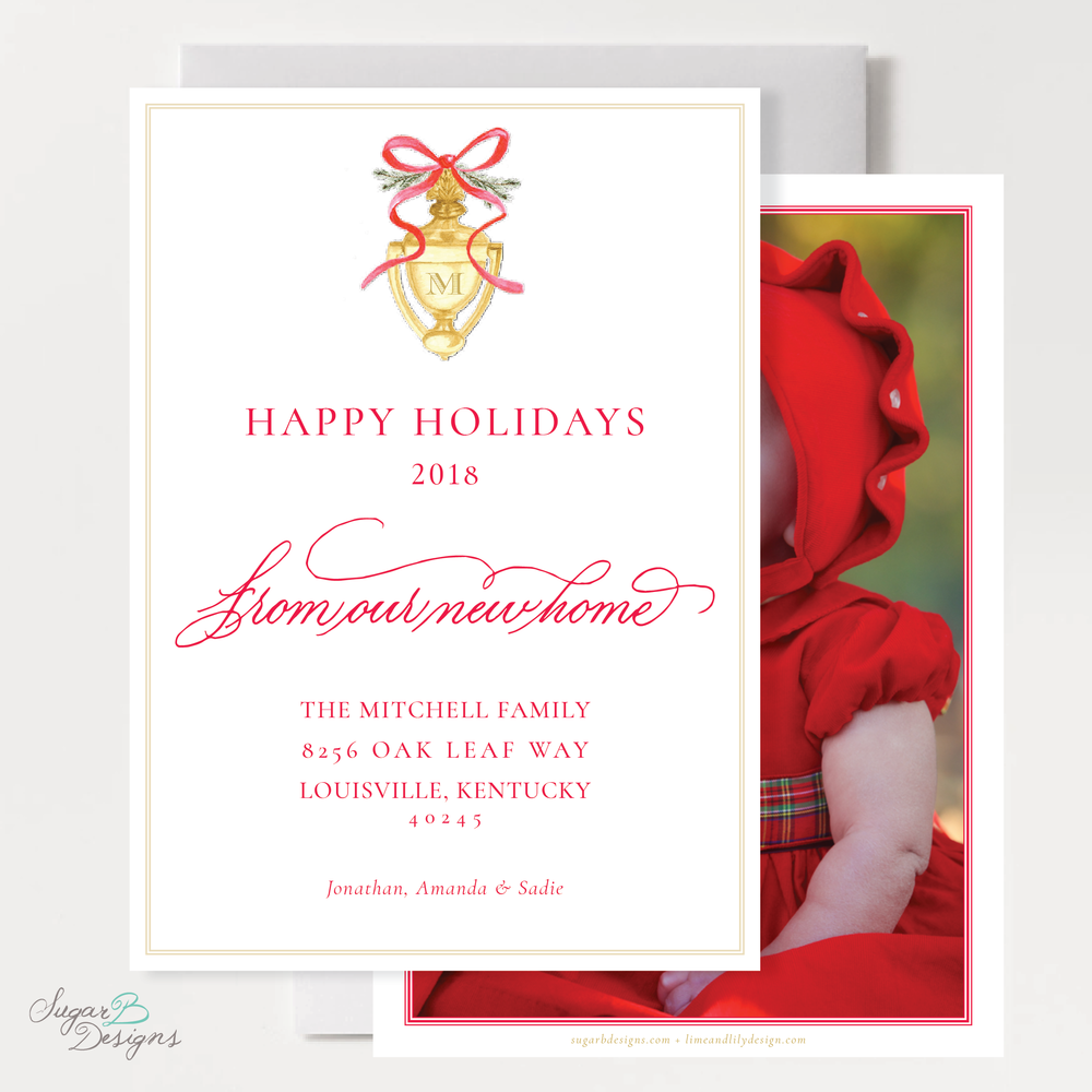 Door Knocker Red Change of Address Christmas Card front + back by Sugar B Designs.png
