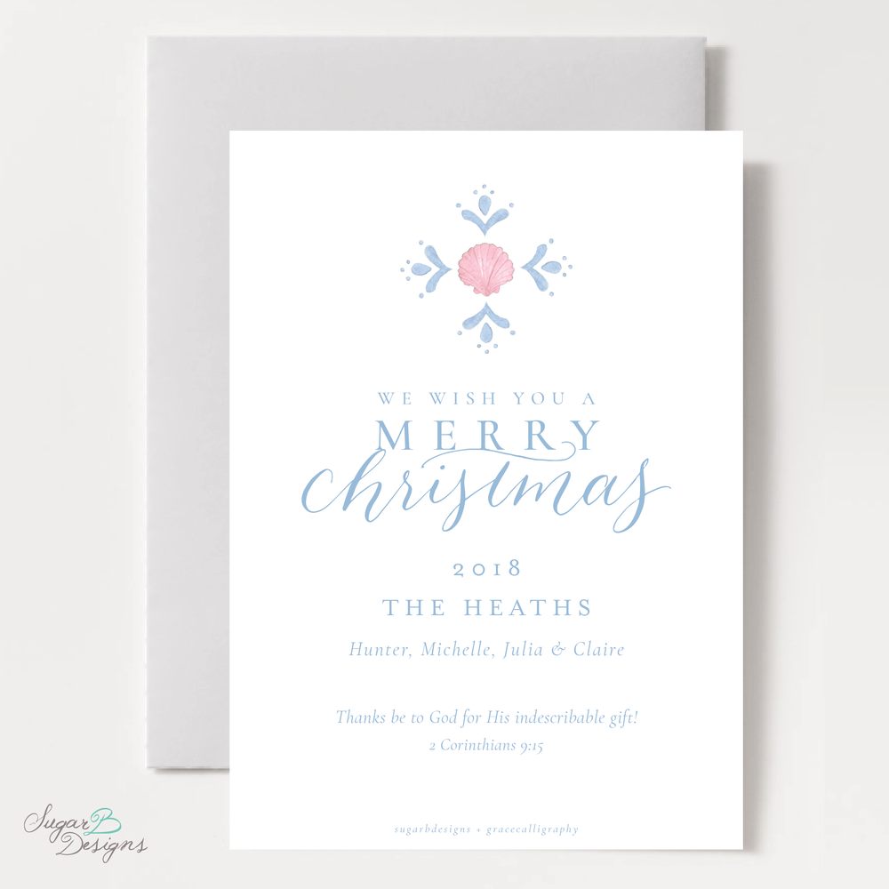 Shell Celebration Pink Christmas Card back by Sugar B Designs.png