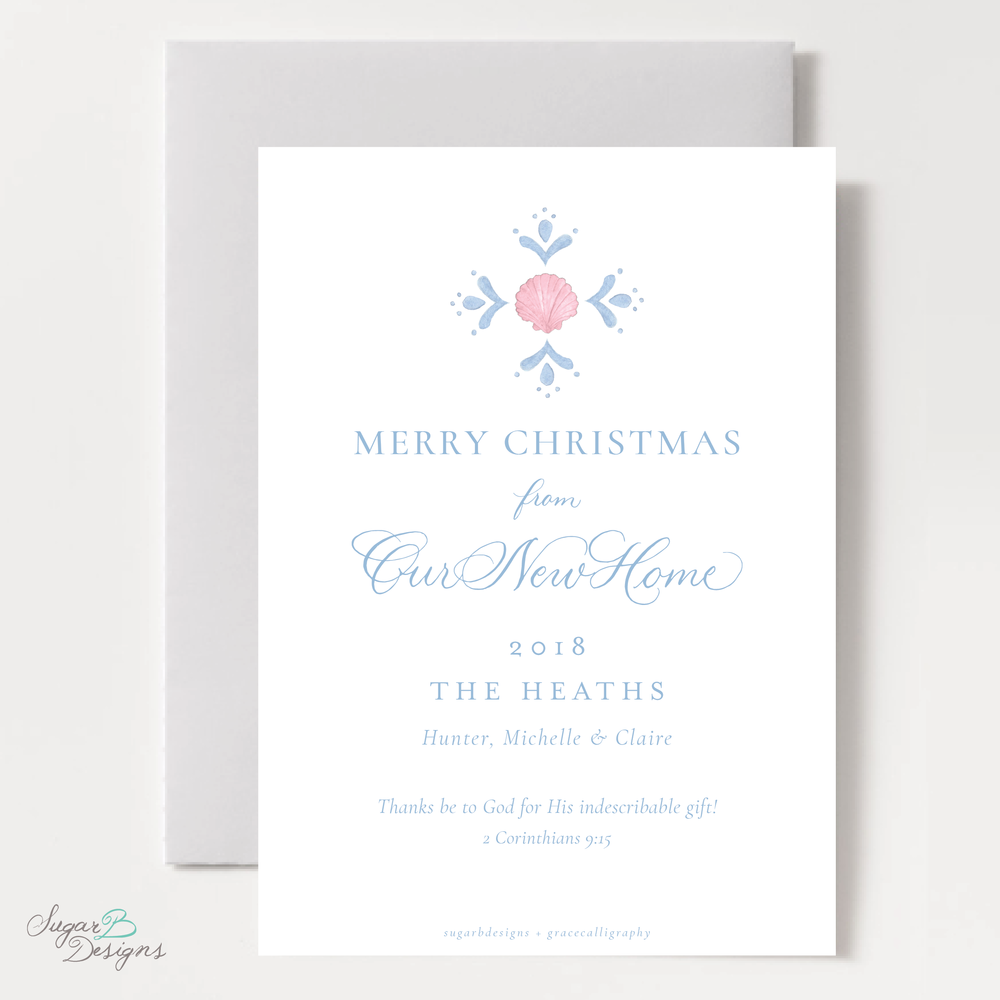 Shell Celebration Pink Moving Christmas Card back by Sugar B Designs.png