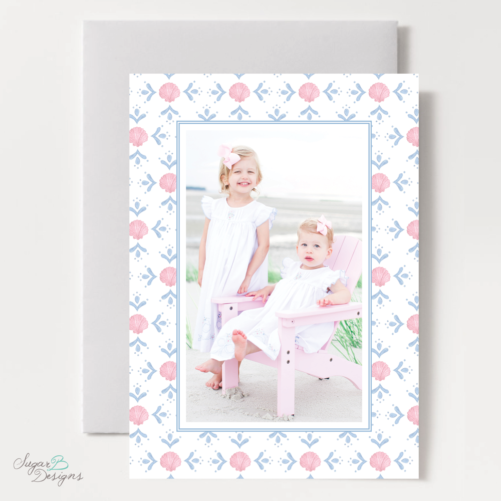 Shell Celebration Pink Vertical Two Photo Christmas Card front by Sugar B Designs.png