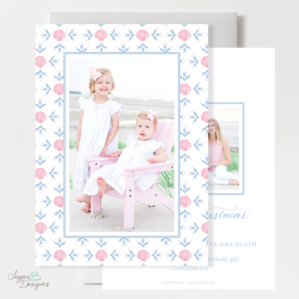 Shell Celebration Pink Vertical Two Photo Cmas Card front + back by Sugar B Designs.png