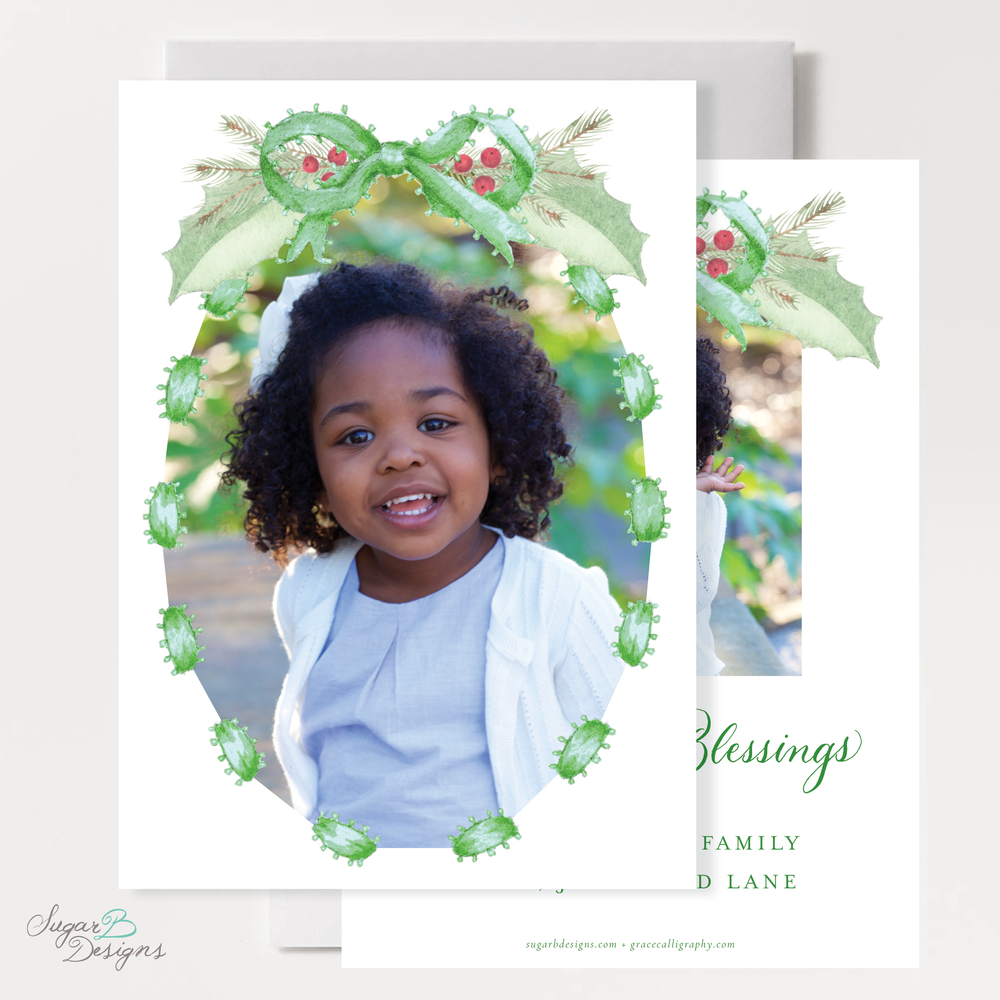 Collins Green Christmas Card front + back by Sugar B Designs.png