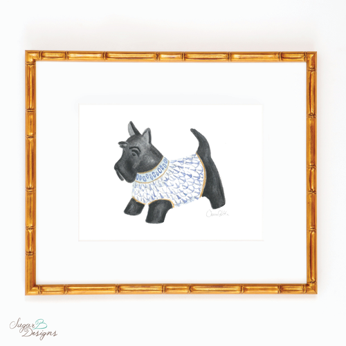 Herend Scottie Dog Holiday Watercolor Print