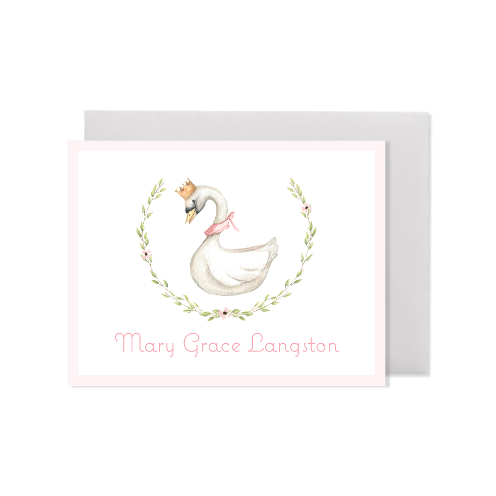 Swan Princess Wreath Fold Over Stationery