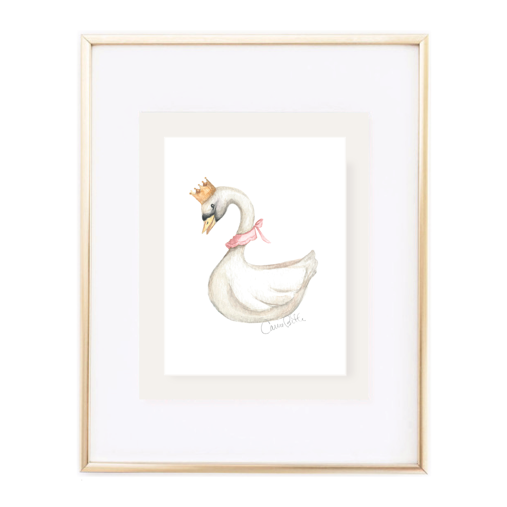 Swan Princess Portrait Watercolor Print