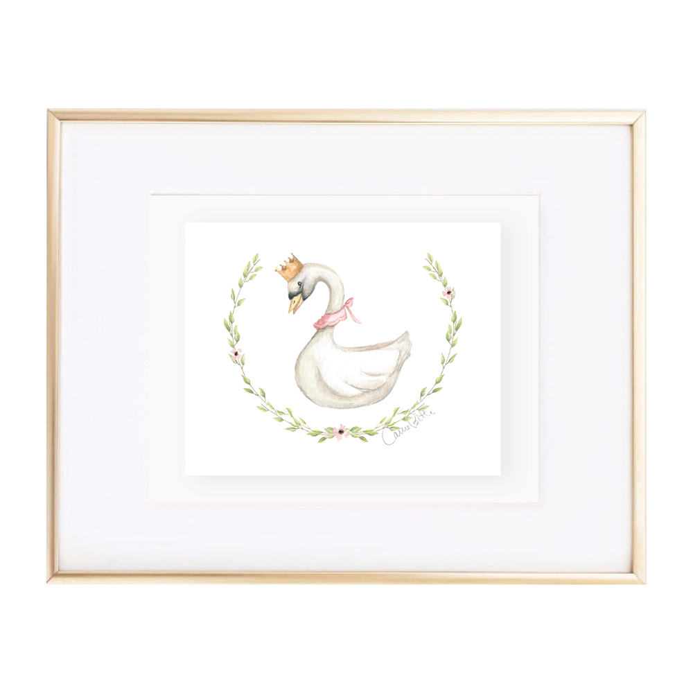 Swan Princess Wreath Watercolor Print