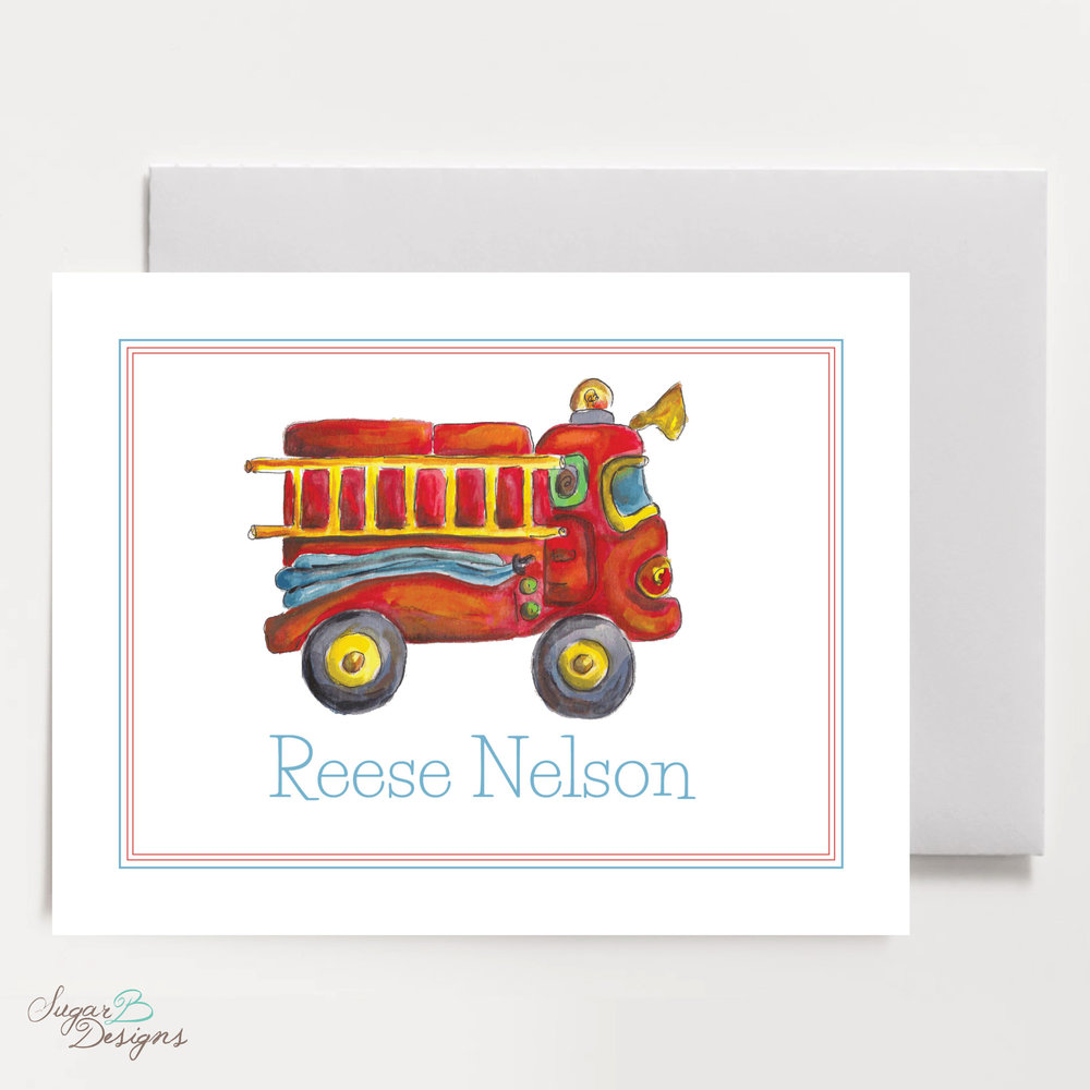 Firetruck Fold Over Stationery