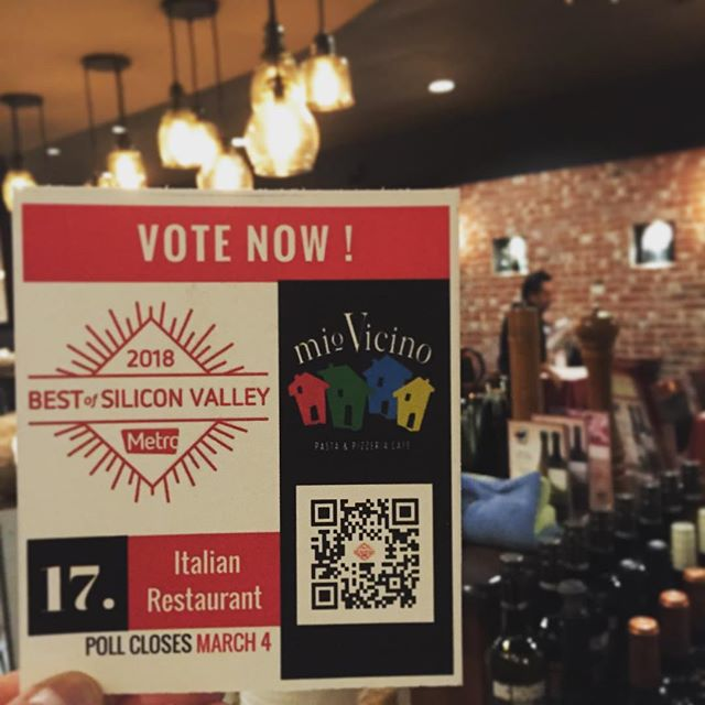 Congratulations team Mio!  We have been #nominated for Best of metro's #silliconvalley 2018 Italian restaurant go online and vote! We are category #17! Polls close March 4th! 🍝🥫🍕🇮🇪 #italianfood#miosaratoga#miossantaclara#santaclara#saratoga#bayareafood#bayarearestaurant#metro#saratogafoodadventures#foodie