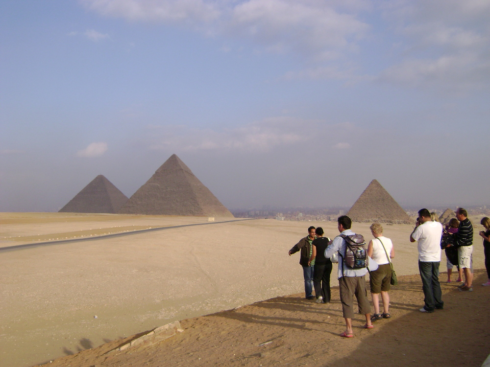 Giza Pyramids from the west, Cairo, Egypt