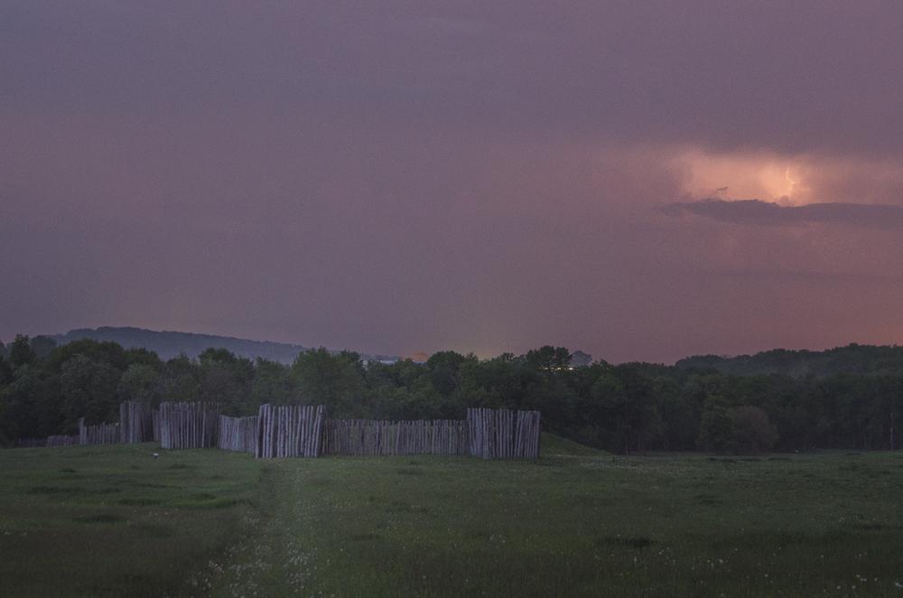 Aztalan State Park. Thunderstorm passing.
