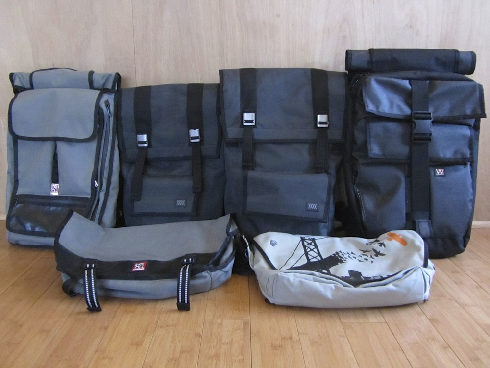 Left to right: Chrome Souz, Mission Workshop AP Sanction, AP Fitzroy, Vandal, Chrome Mini-Metro, Rickshaw Zero Messenger