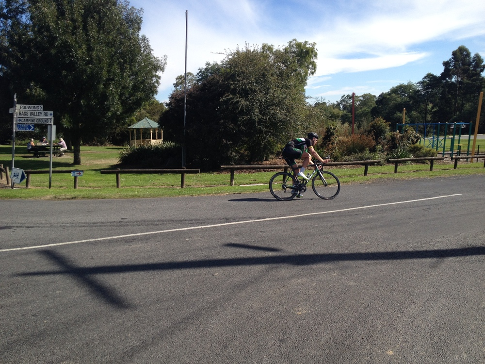 The Pimp, solo on Stage 2 after riding off the front of the scratch group. Yet another ridiculous performance from the rider known in Mansfield as 'Black Caviar'