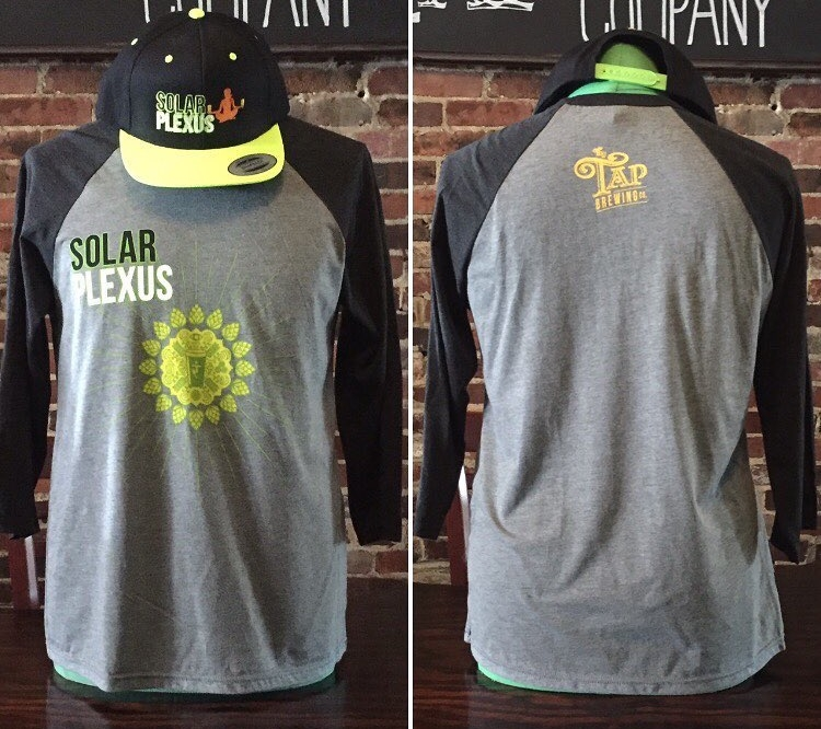 Solar Plexus Baseball Tee. Made from supremely soft triblend fabric 52/48 cotton/polyester.