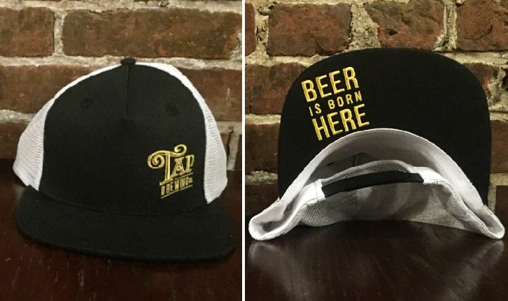 The Tap Beer is born here side logo, flat brimmed Snap-back Trucker Cap.