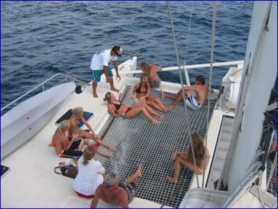 Our staff serves your every need on board the sailing catamarans of Marlin del Rey.