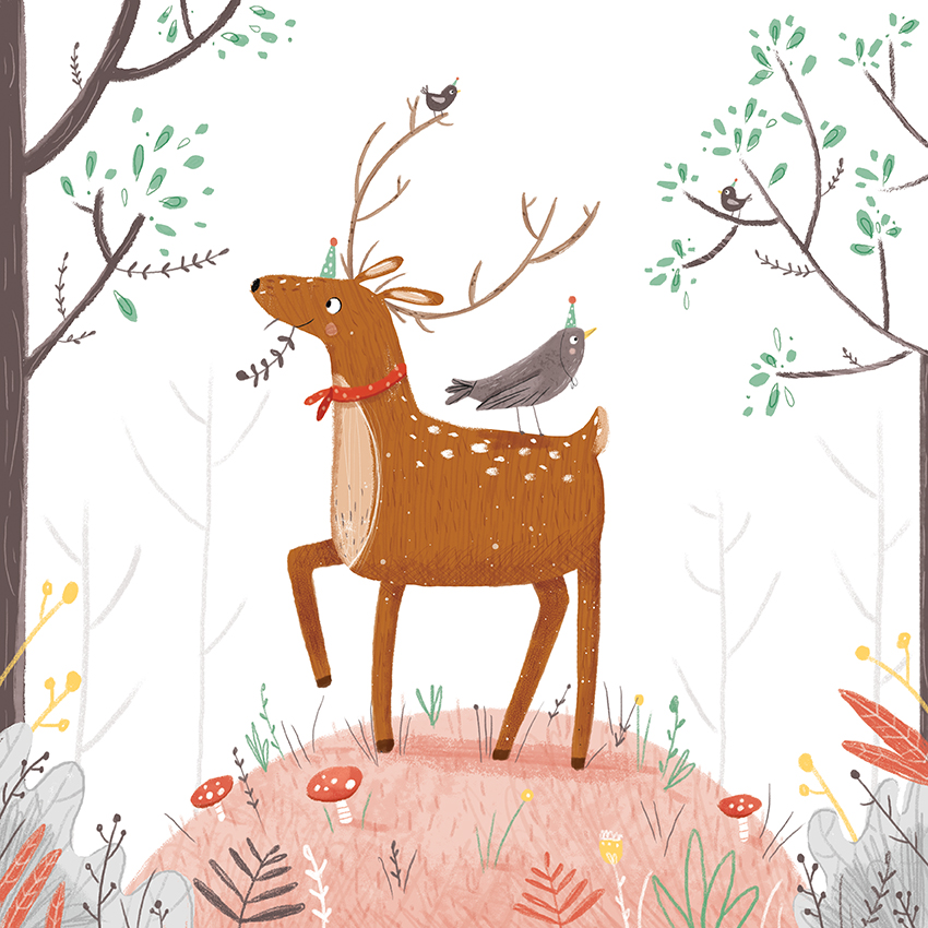 deer and bird party louise wright.jpg