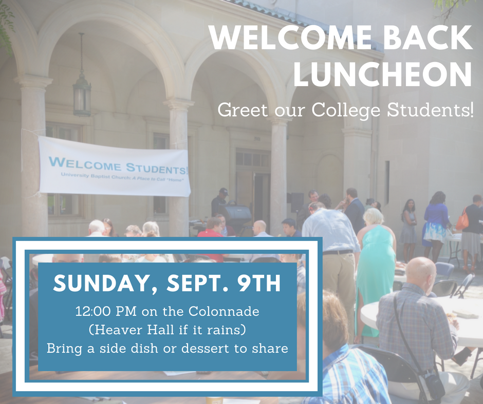 UBC is excited to welcome our returning students and greet some newcomers this fall! Please join us for a luncheon on the Colonnade (weather permitting), where we will enjoy hamburgers, hotdogs, and vegetarian dishes. Please bring a side dish or dessert to share, and contact Isaac Mwase if you have any questions.