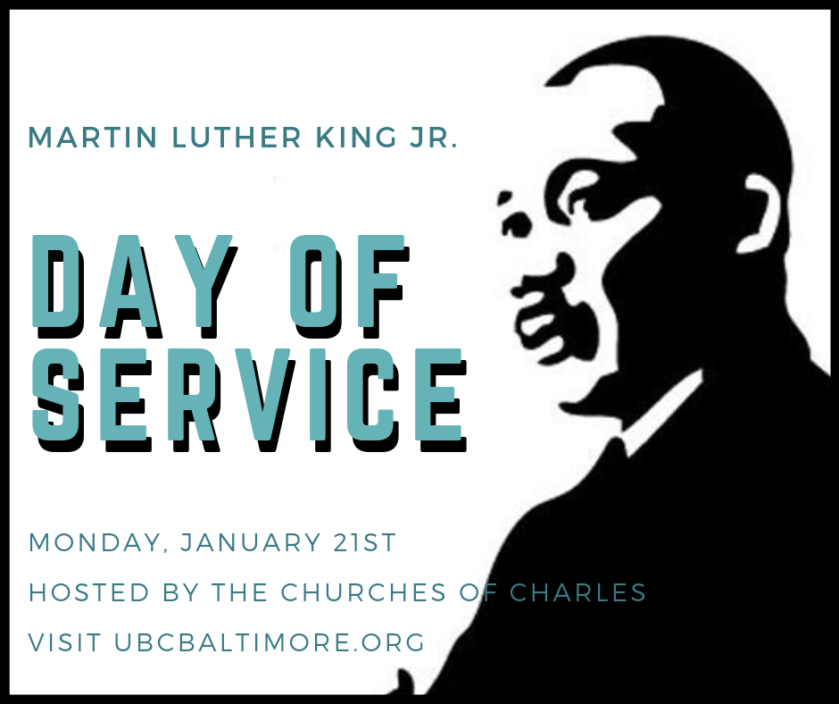 On  Monday, January 21st,  the Church of Charles — The Episcopal Cathedral of the Incarnation, First English Lutheran, Saints Philip and James, Second Presbyterian, and University Baptist — are coming together to serve Baltimore! The Churches of Charles have scheduled 11 separate activities as a way to serve our community this MLK Day. We will be returning to some of our favorites places like Woodberry Crossing and Baltimore Station and doing some of our favorite things like knitting, cooking, carpentry and card making. For more information and to sign up for a time slot, please visit the Day of Service  website . Please sign up for the one(s) you wish to attend so that we know how many to expect and have enough supplies, etc.