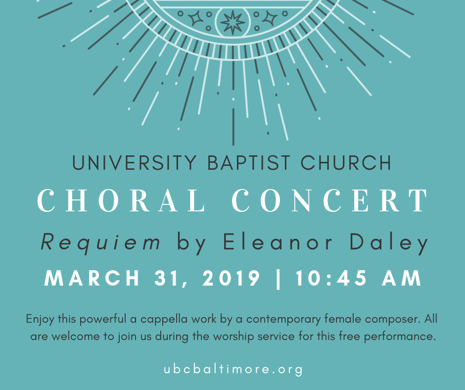 Everyone at UBC looks forward to our spring concert every year. On Sunday, March 31st, we will have the opportunity to hear a contemporary work by Eleanor Daley. Be sure to invite your friends to the service so that they can enjoy some amazing choral music and a wonderful time of fellowship after the service.