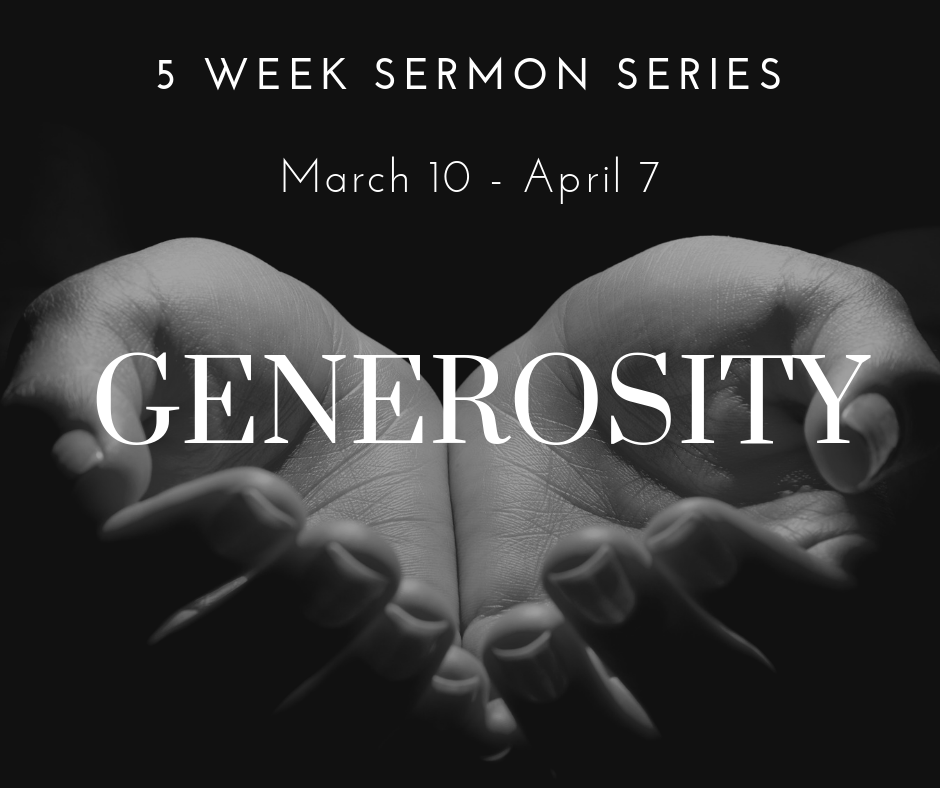 This spring we will address the theme of generosity in the Bible. We will reflect upon God's generosity to us, which calls us to be generous in kind. When we are given great blessings, it is a wonderful gift to be able to share them. On a communal level, we will discuss what is required of our church as we work to build God's kingdom here on earth.