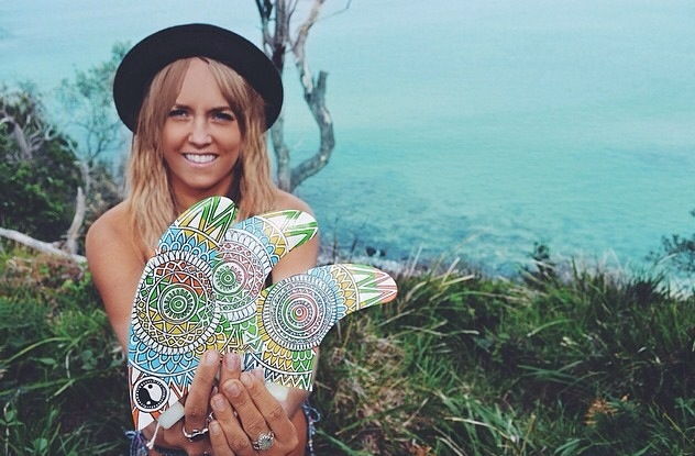 Shan with her hand painted fins for the Finatics