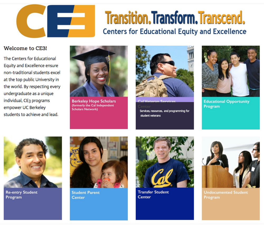 The Centers for Educational Equity and Excellence (CE3) ensure non-traditional students excel at the top public University in the world. Click here to learn about CE3 programs and services.