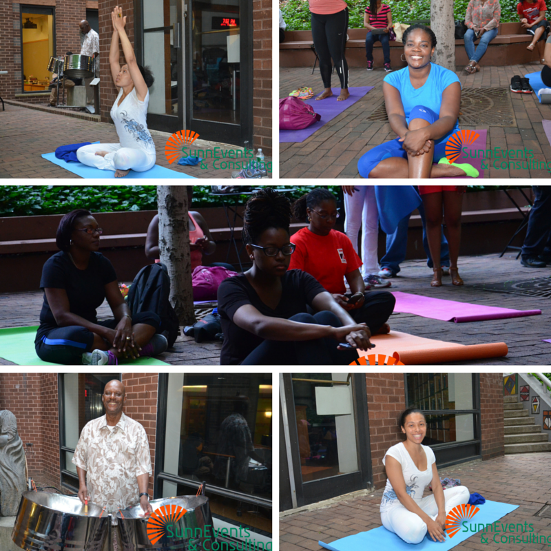 Yoga class by Meena Anandi, accompanied by Mr. Franklyn on steel pan