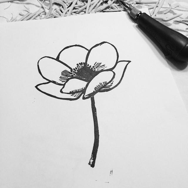 anemone linocut print by samantha hirst