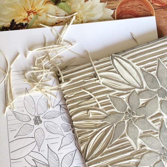 floral tile linocut print by samantha hirst