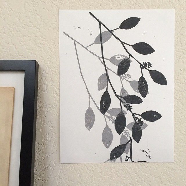 branches linocut test print by samantha hirst