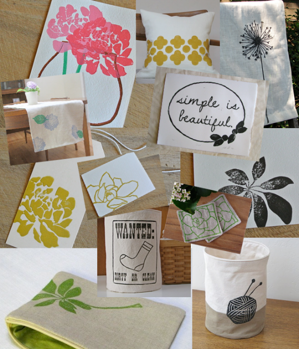 linocut printed goods by samantha hirst