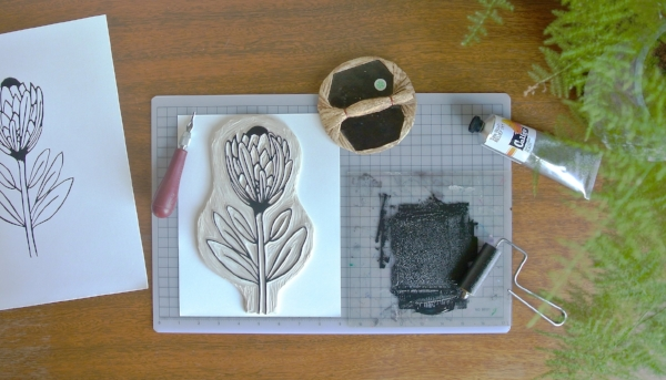 linocut printmaking in progress by samantha hirst
