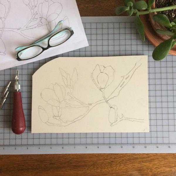 saucer magnolia linocut block