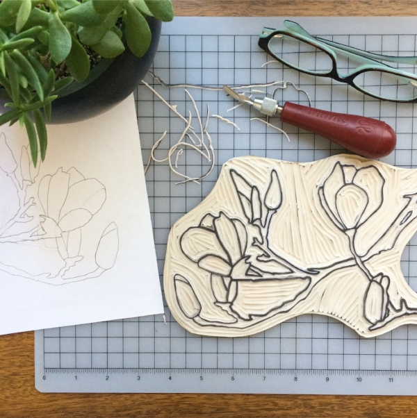 saucer magnolia print work in progress