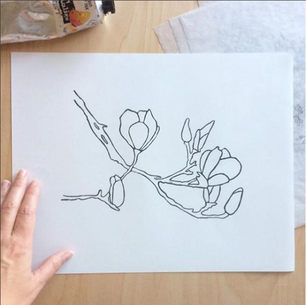 saucer magnolia linocut print