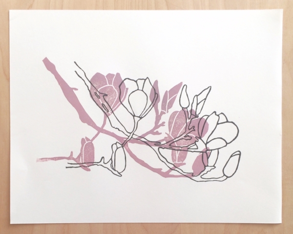 Magnolia linocut print - work in progress