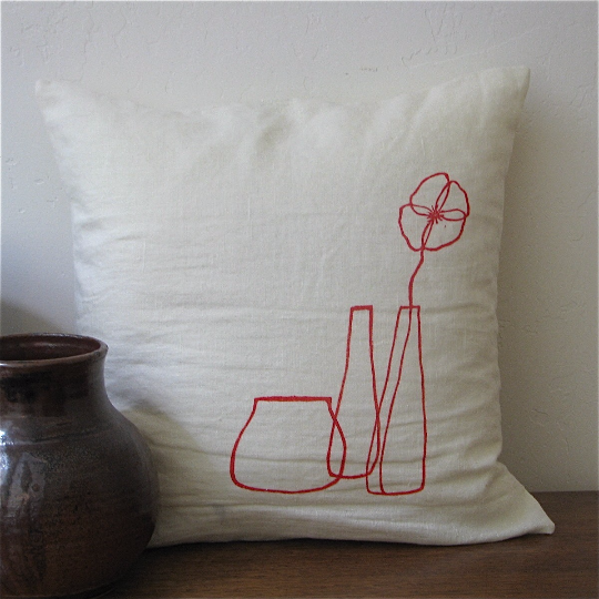Shirley Poppy pillow by Samantha Hirst