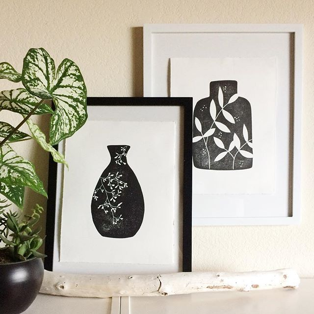 The ink is still wet on these prints so I couldn't put them IN the frames but I wanted to see them together so they are ON the frames. I love the look of floating artwork when it has hand torn edges and it's nice to see these two vessels together. I'd love to know which frame you prefer! #creativeprocess #linocut #reliefprint #shopsmall #inspiredbynature