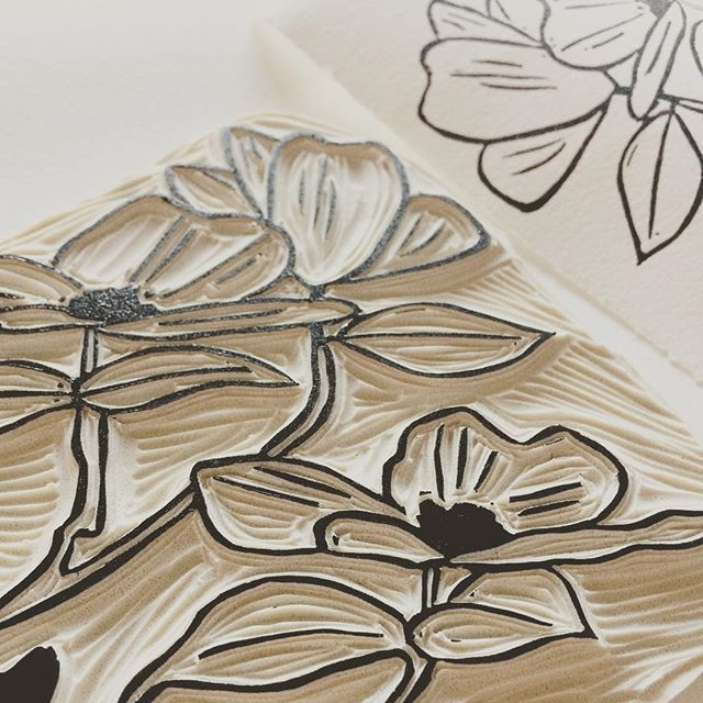 I started carving a new block - a dogwood branch. Normally I work on an entire block at once but I'm tackling this one in sections.... to give my eyes a rest from the detailed work. I pulled a quick test print of the first section this morning! What are you working on today? #creativeprocess #linocut