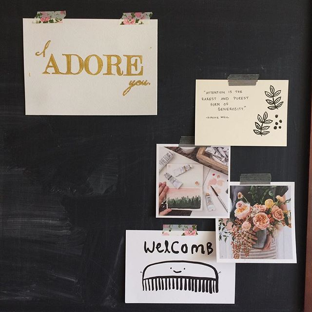 I'm not a chalkboard artist... so I'm using my chalkboard as a place to save favorite small paper things. #pursuepretty #chalkboard