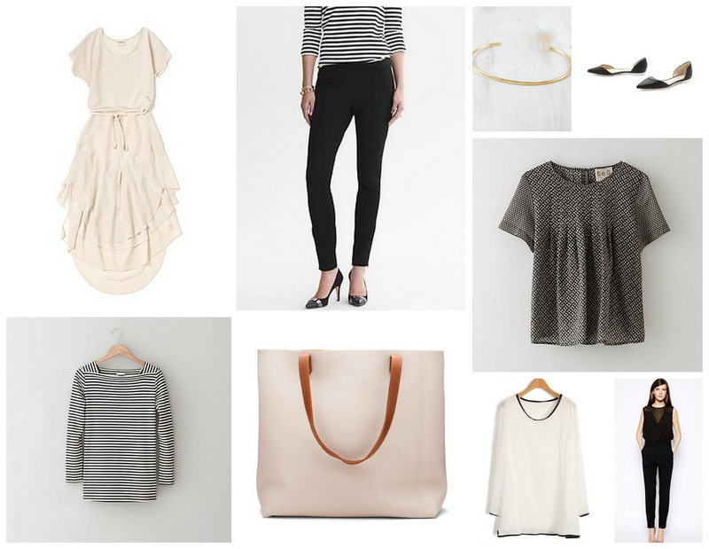 Dress /  Stripe Top /  Leather   Tote /  Pants /  Bracelet /  Flats /  Blouse /  White Top /  Bodysuit