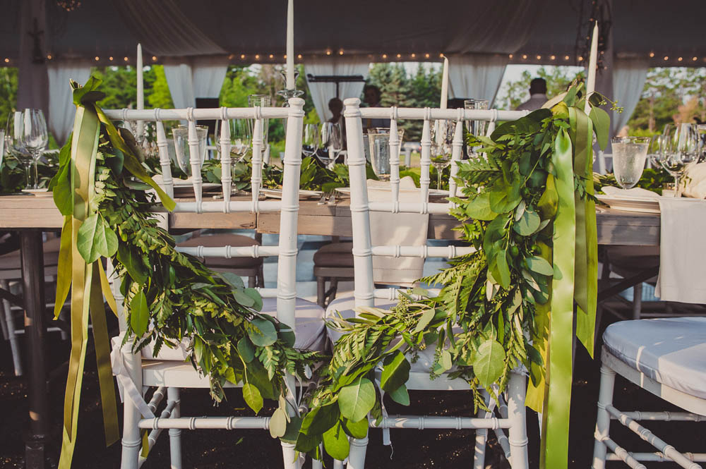greenery bride and groom chair sash