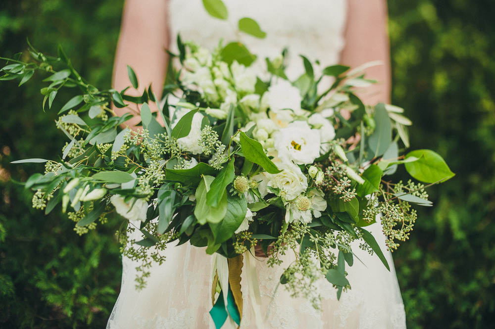 bridal bouquet with lots of greenery and white flowers