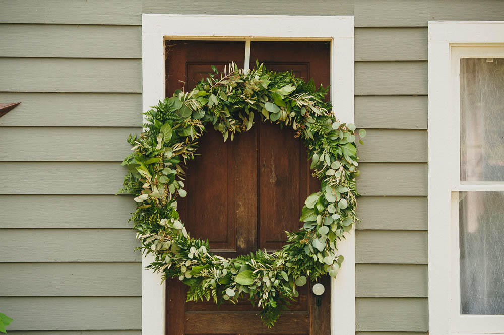 huge greenery wreaths wedding decor